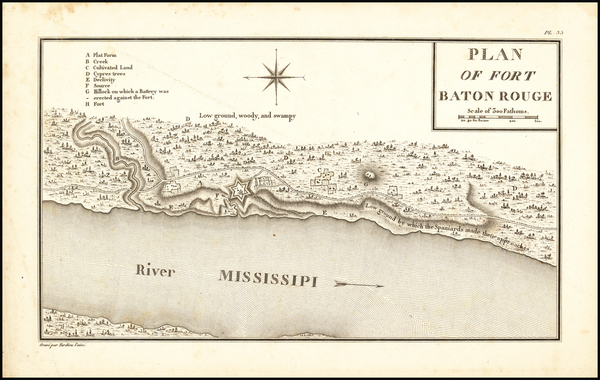 68-Louisiana Map By Victor George Henri Collot