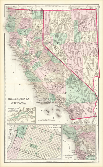 68-Nevada, California and Yosemite Map By O.W. Gray & Son