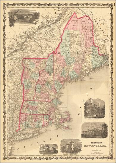 63-New England, Maine, Massachusetts, New Hampshire, Rhode Island and Vermont Map By Benjamin P Wa