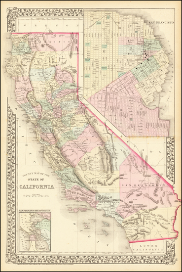 39-California and San Francisco & Bay Area Map By Samuel Augustus Mitchell Jr.