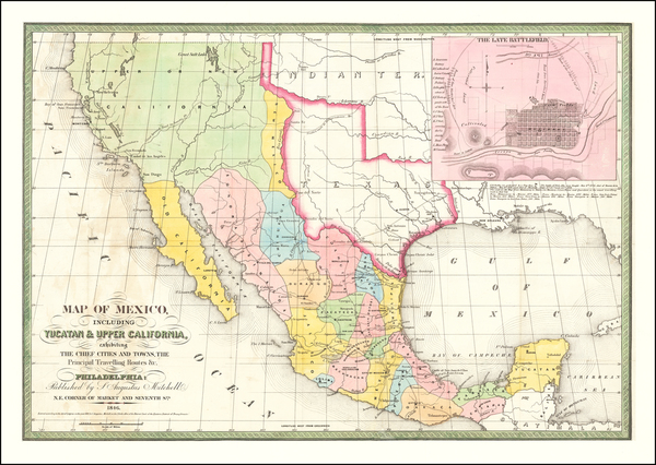53-Texas, Plains, Southwest, Rocky Mountains, Mexico and California Map By Samuel Augustus Mitchel