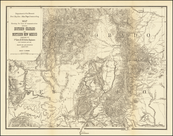 64-Southwest, Colorado, New Mexico, Rocky Mountains and Colorado Map By U.S. Government