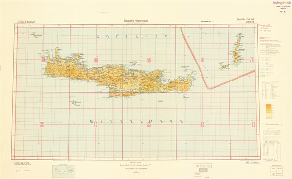 96-World War II and Greece Map By General Staff of the German Army