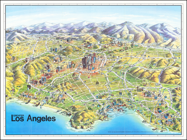 21-Pictorial Maps, California and Los Angeles Map By Unique Media