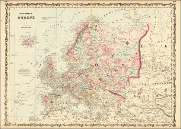 36-Europe Map By Benjamin P Ward  &  Alvin Jewett Johnson