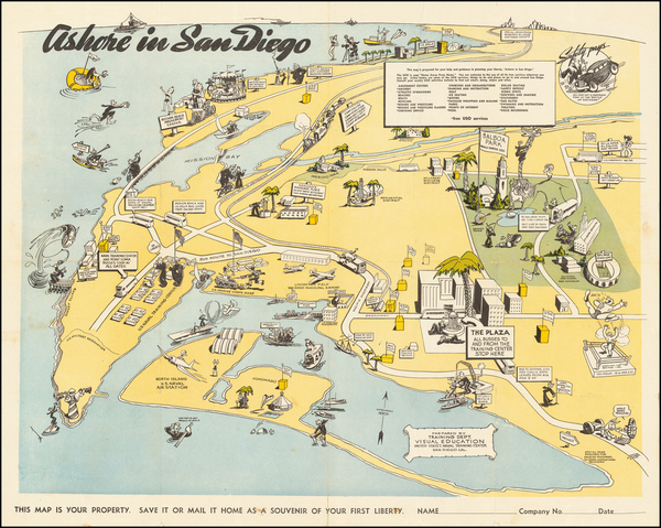 21-Pictorial Maps, California and San Diego Map By United States Naval Training Center