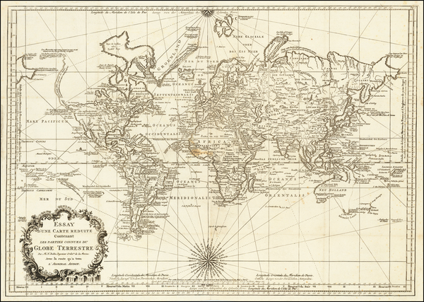 32-World Map By Jacques Nicolas Bellin