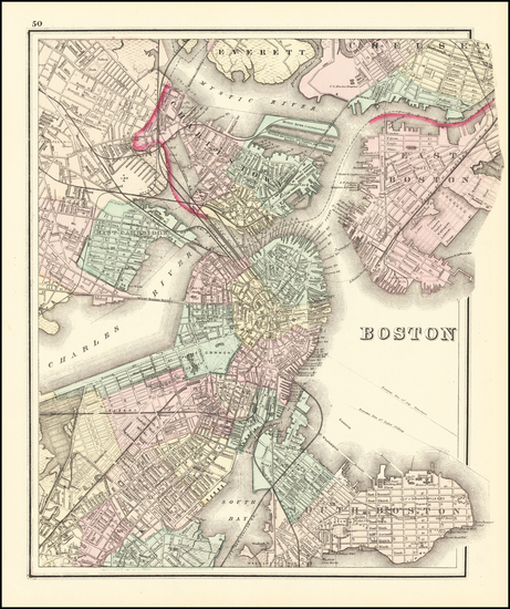 63-Massachusetts and Boston Map By O.W. Gray