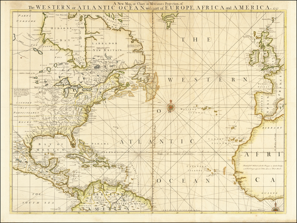 53-Atlantic Ocean, United States and North America Map By Robert Sayer  &  William Herbert