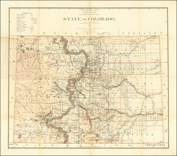 53-Colorado and Colorado Map By U.S. General Land Office