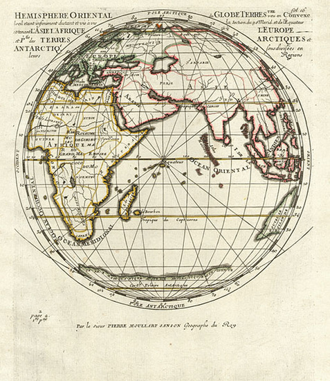 75-World, Eastern Hemisphere and Polar Maps Map By Pierre Moullart Sanson