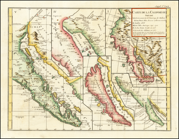 7-Baja California and California Map By Denis Diderot / Didier Robert de Vaugondy