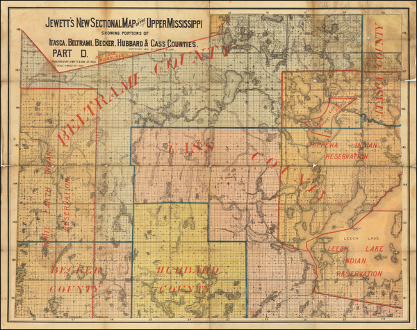 26-Minnesota Map By Jewett & Son