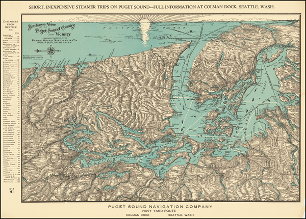 77-Washington and Canada Map By Puget Sound Navigation Company