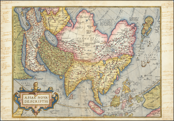 65-Asia Map By Abraham Ortelius
