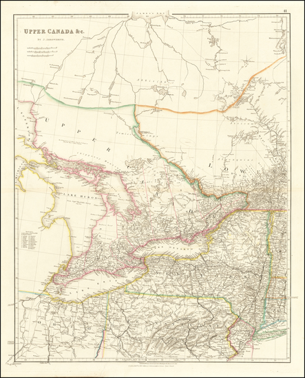 78-New York State, Midwest and Canada Map By John Arrowsmith