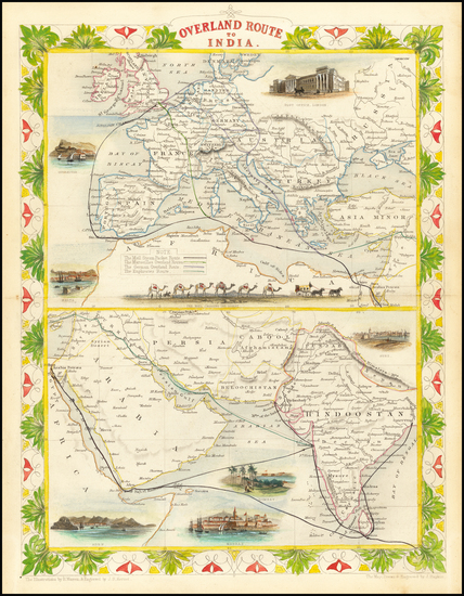 37-Europe, India, Central Asia & Caucasus and Middle East Map By John Tallis