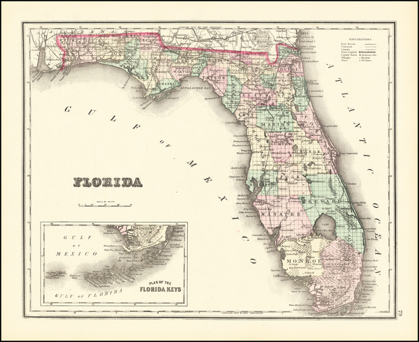 8-Florida Map By O.W. Gray