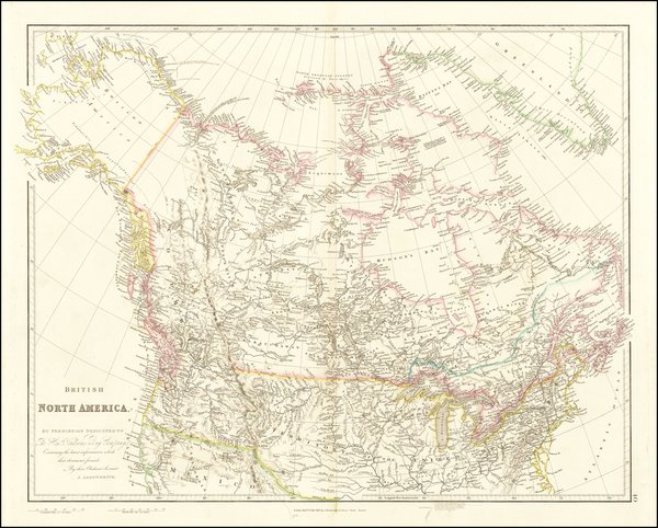 77-Plains, Rocky Mountains, Alaska and Canada Map By John Arrowsmith