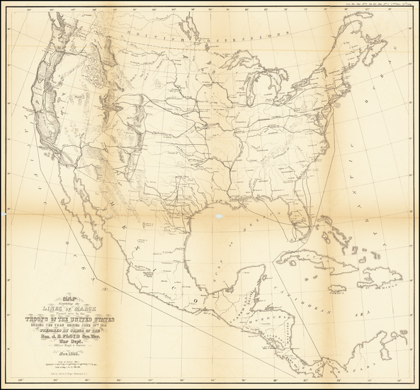 72-United States Map By United States Bureau of Topographical Engineers