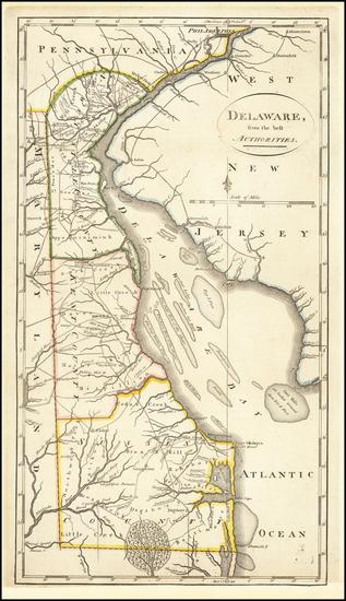 1-Delaware Map By Mathew Carey