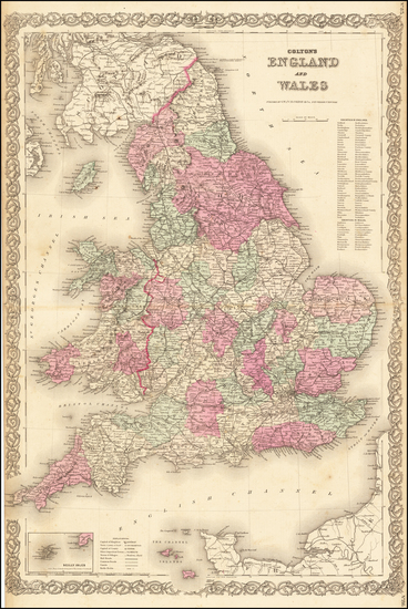 60-England and Wales Map By G.W.  & C.B. Colton