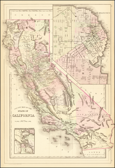 32-California and San Francisco Map By Samuel Augustus Mitchell Jr.