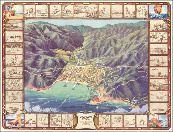37-Pictorial Maps, California and Other California Cities Map By L.C.B. Co.