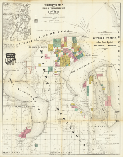 89-Washington Map By W.H. Whitney
