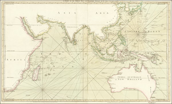 17-Indian Ocean, Southeast Asia and Australia Map By Thomas Jefferys