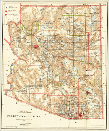 54-Arizona Map By General Land Office