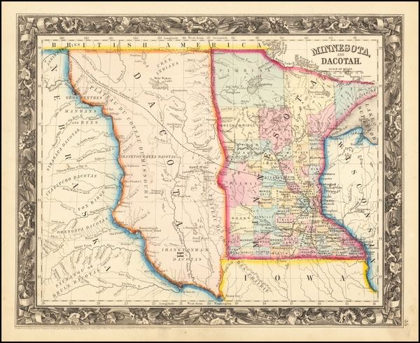 33-Minnesota, North Dakota and South Dakota Map By Samuel Augustus Mitchell Jr.