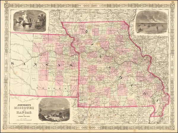 4-Kansas and Missouri Map By Benjamin P Ward  &  Alvin Jewett Johnson