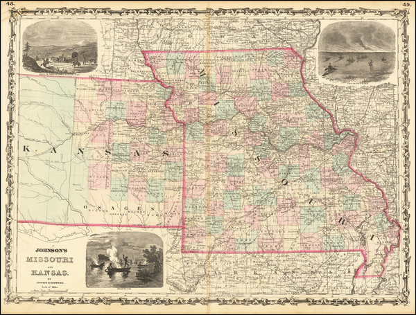 83-Kansas and Missouri Map By Alvin Jewett Johnson  &  Browning