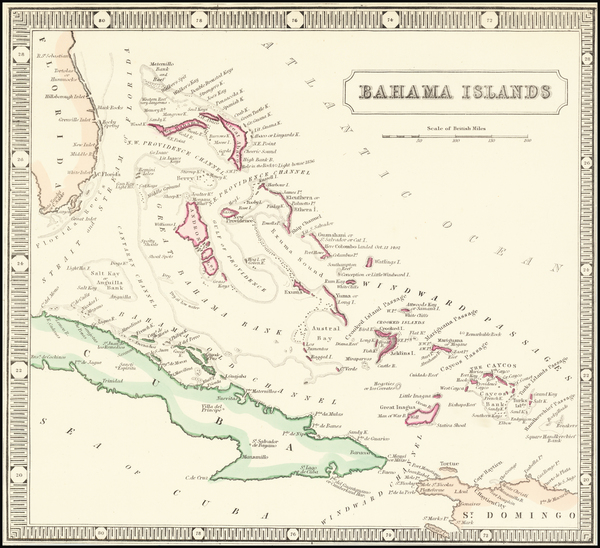 1-Bahamas Map By George Philip & Son