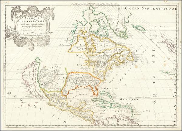 14-North America Map By Guillaume Sanson / Pierre Mariette
