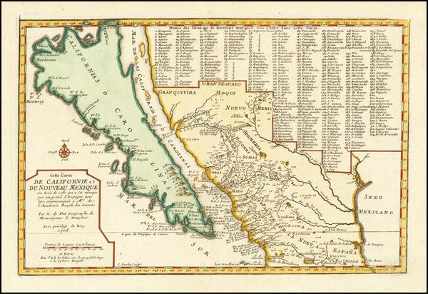 37-Baja California, California and California as an Island Map By Nicolas de Fer