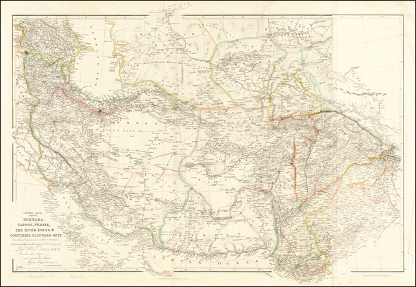 75-India, Central Asia & Caucasus, Middle East and Persia Map By John Arrowsmith
