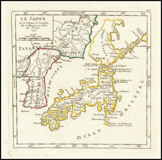 62-Japan and Korea Map By Gilles Robert de Vaugondy