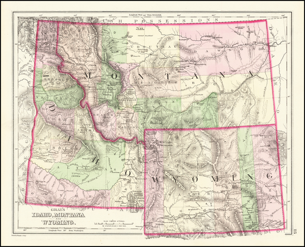 0-Idaho, Montana and Wyoming Map By O.W. Gray