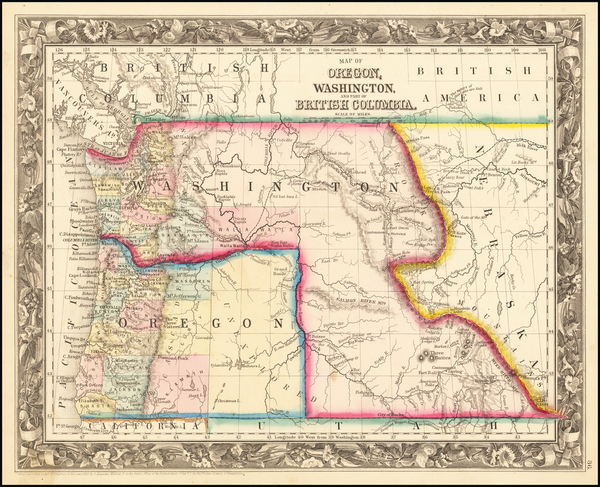56-Idaho, Pacific Northwest, Oregon and Washington Map By Samuel Augustus Mitchell Jr.