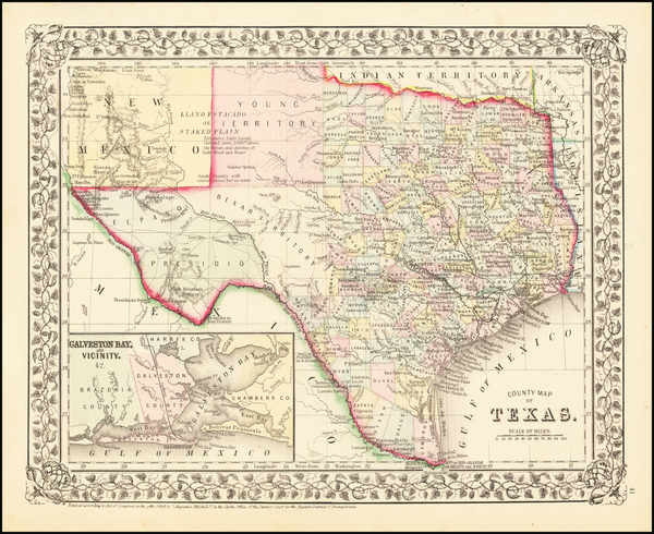 57-Texas Map By Samuel Augustus Mitchell Jr.