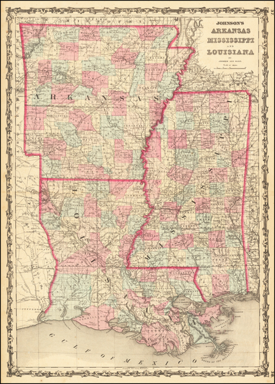 48-Louisiana, Mississippi and Arkansas Map By Benjamin P Ward  &  Alvin Jewett Johnson