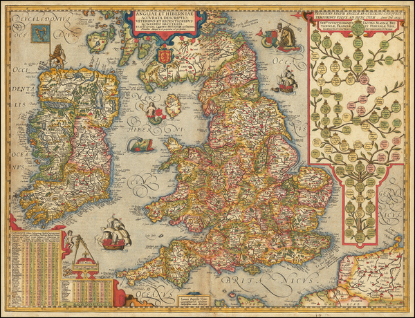 42-British Isles and England Map By Abraham Ortelius / Johannes Baptista Vrients