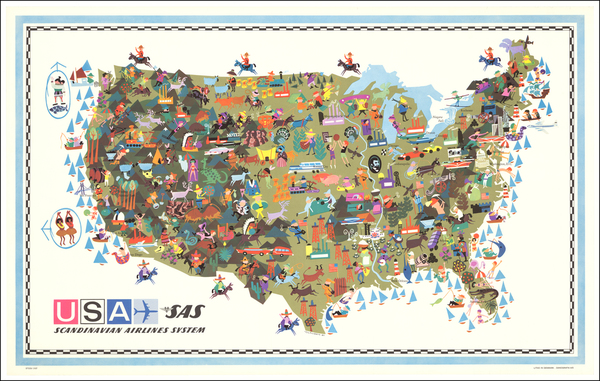 83-United States and Pictorial Maps Map By Scandinavian Airlines Systems