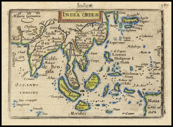 63-India, Southeast Asia, Philippines, Indonesia, Malaysia and Thailand Map By Petrus Bertius