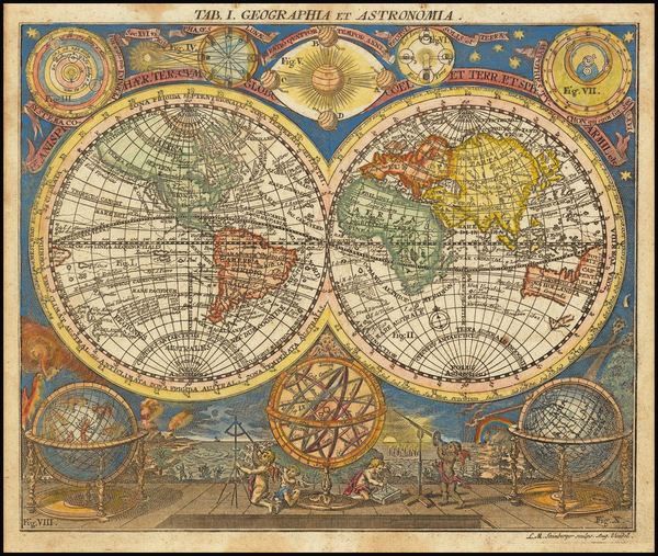 60-World, New Zealand, California as an Island and Celestial Maps Map By L Steinberger