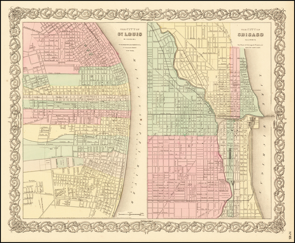 83-Missouri and Chicago Map By Joseph Hutchins Colton