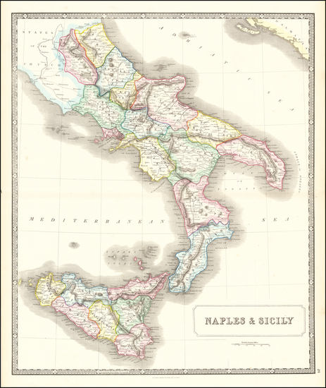 67-Southern Italy and Sicily Map By George Philip & Son