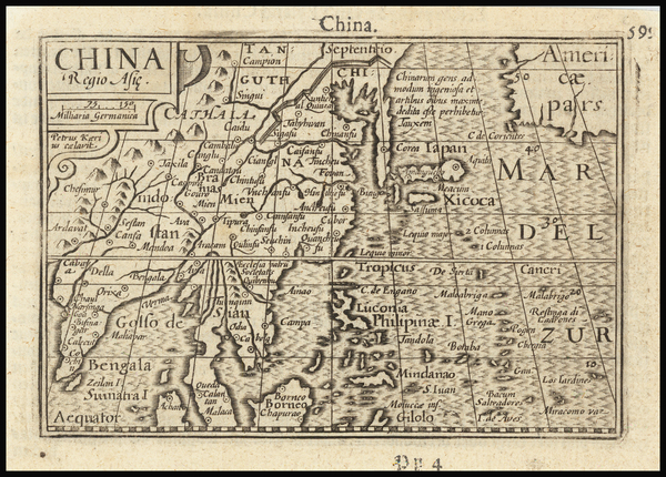 94-China, Korea, Southeast Asia and Philippines Map By Petrus Bertius